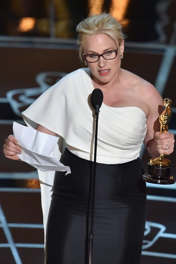 Patricia Arquette em seu discurso no Oscar 2015 (Foto: Getty Images)