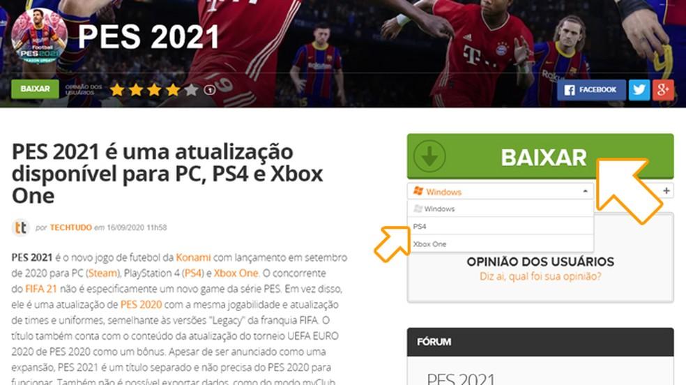 """Na página de PES 2021 selecione o PlayStation 4 entre as plataformas e clique em """"Baixar"""" — Foto: Reprodução/Rafael Monteiro"""