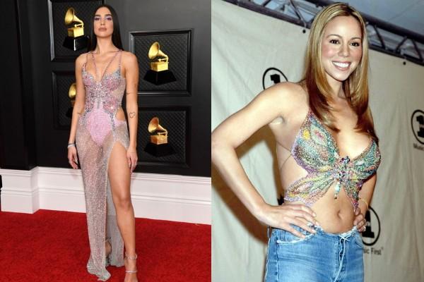 Dua Lipa e Mariah Carey usando roupas com borboletas (Foto: Getty Images)