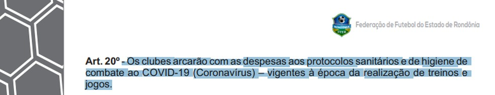 Detalhamento do artigo 20 do regulamento do Rondoniense 2021 (Foto: Divulgação)