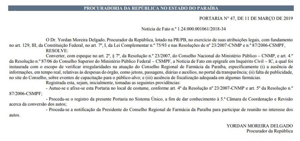 Portaria sobre inquérito civil foi publicada no Diário Oficial do Ministério Público desta quarta-feira (13) — Foto: Reprodução/MPF