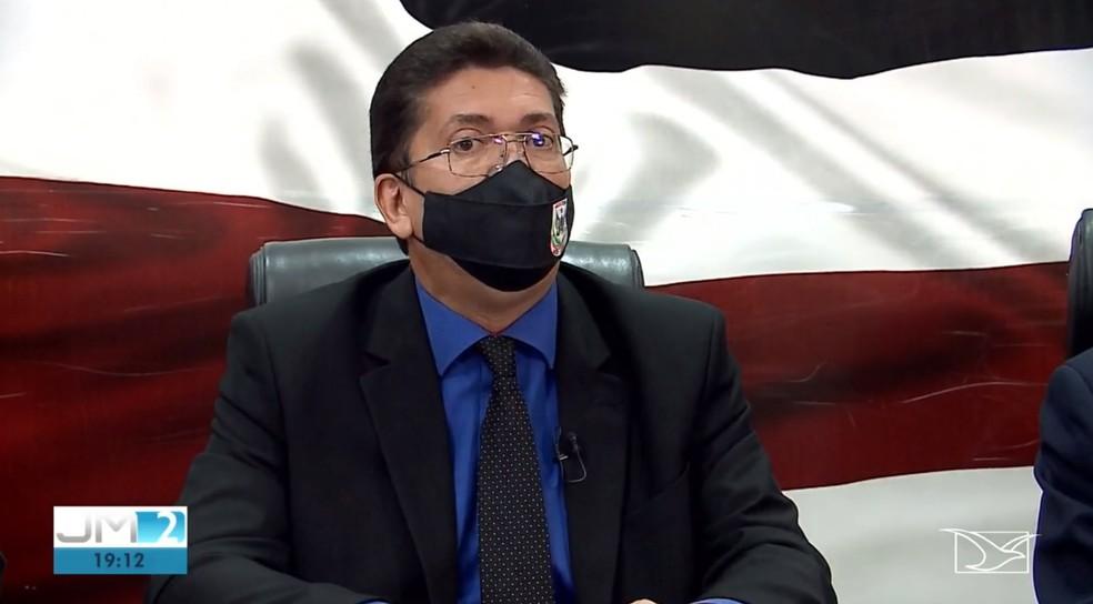 Secretário estadual de Segurança Pública, Jefferson Portela, afirmou que os agentes envolvidos na morte de Hamilton Cesar não serão afastados. — Foto: Reprodução/TV Mirante