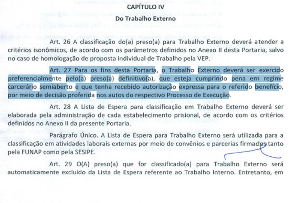Trecho da portaria emitida pela Vara de Execuções Penais (VEP) cita classificação de presos que devem ser priorizados nas vagas — Foto: TJDFT/Reprodução