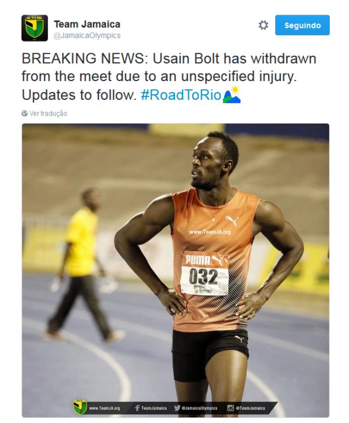 Team Jamaica informa lesão de Bolt e sua saída da qualificatória jamaicana (Foto: Reprodução/Twitter)