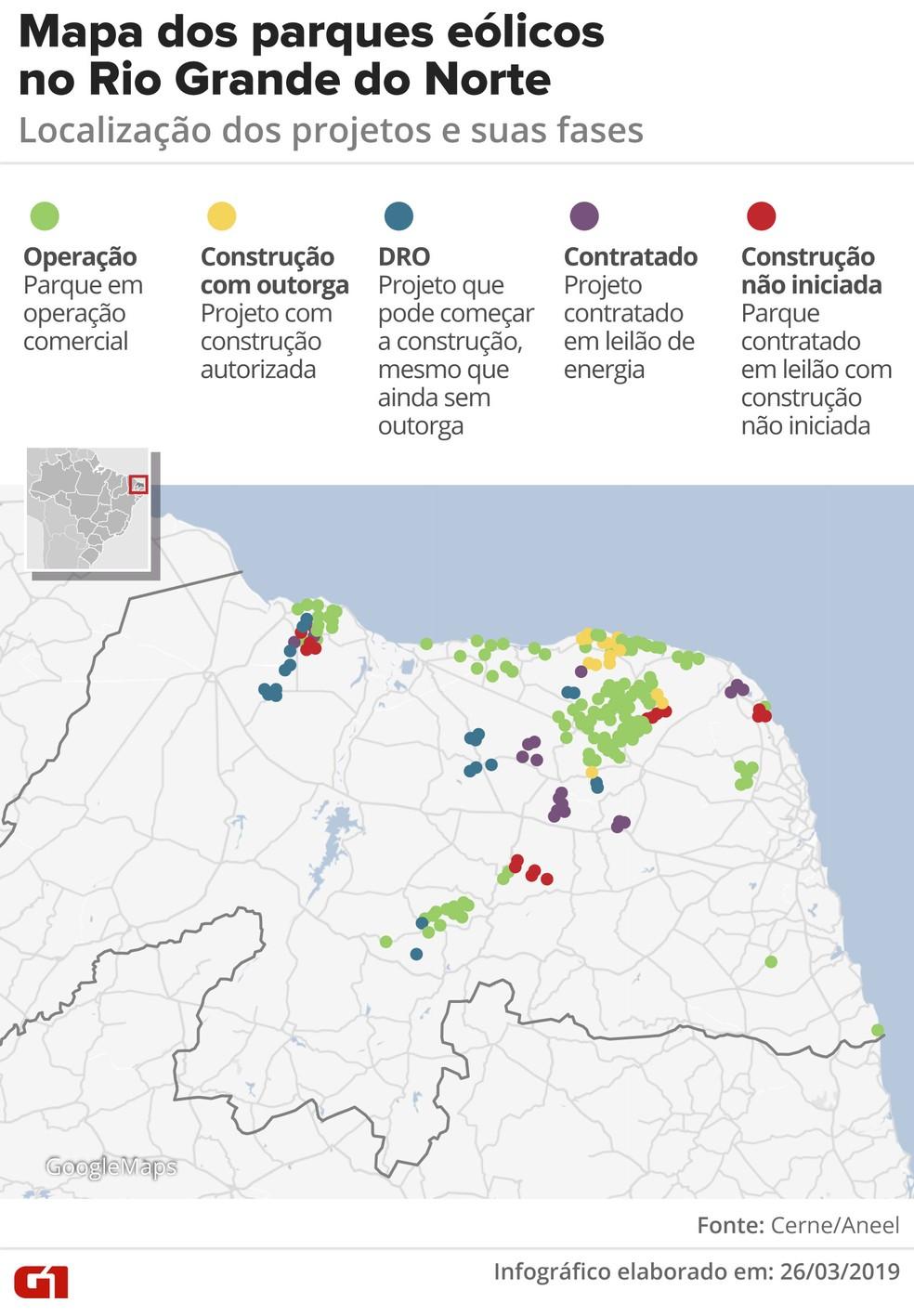 Mapa dos parques eólicos no Rio Grande do Norte — Foto: Infográfico: Roberta Jaworski/G1