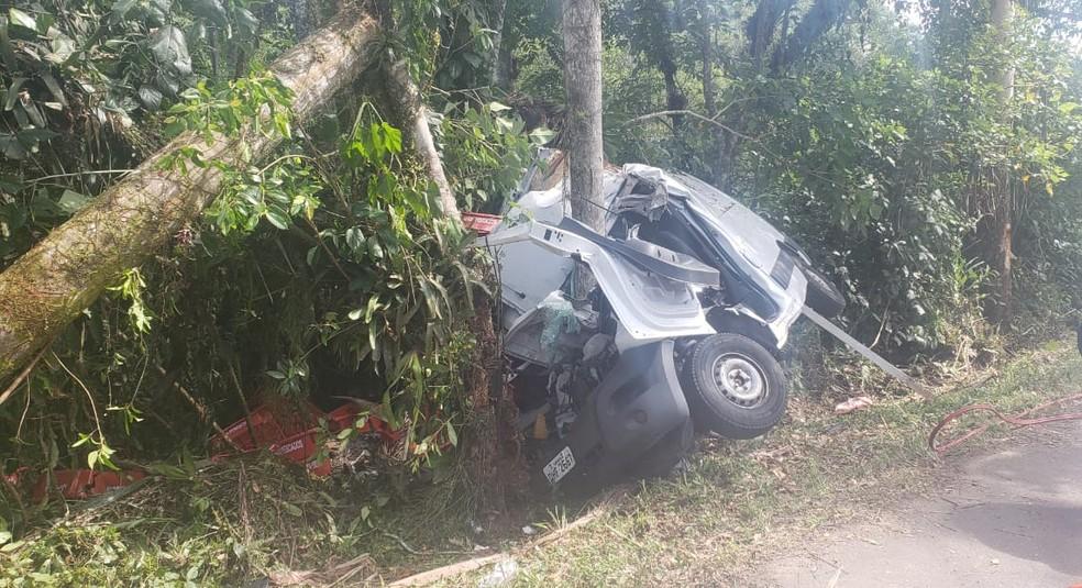Motorista perdeu o controle quando trafegava pela PR-412 e bateu em uma árvore. — Foto: Divulgação/PRE