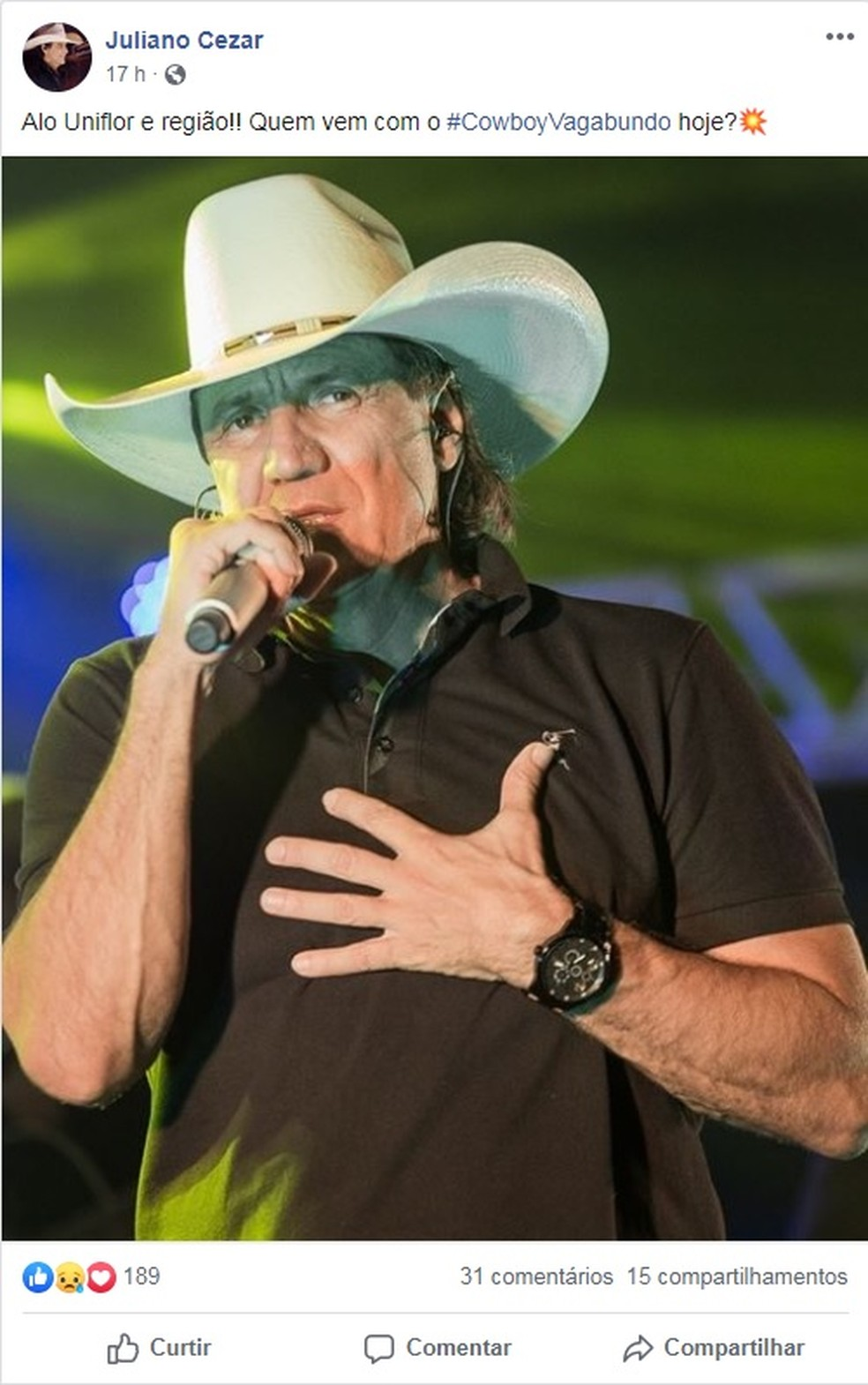 Cantor sertamejo teve infarto fulminante enquanto fazia show em Uniflor — Foto: Reprodução/Facebook
