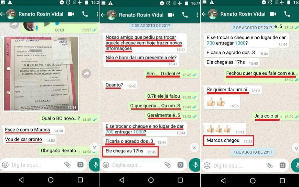 Acusados sugerem 'dar um presente' a escrivão da Polícia Civil em Ribeirão Preto — Foto: Ministério Público/Divulgação