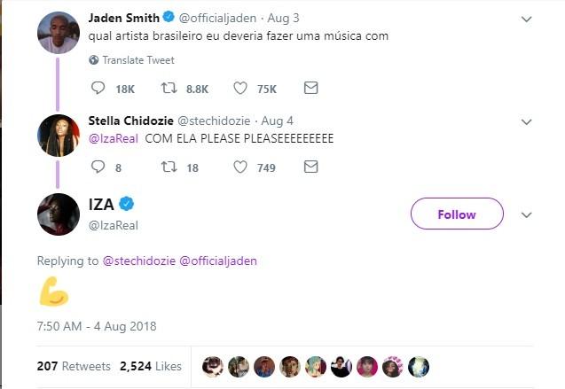 IZA tuita em resposta para Jaden Smith (Foto: Reprodução/ Twitter)