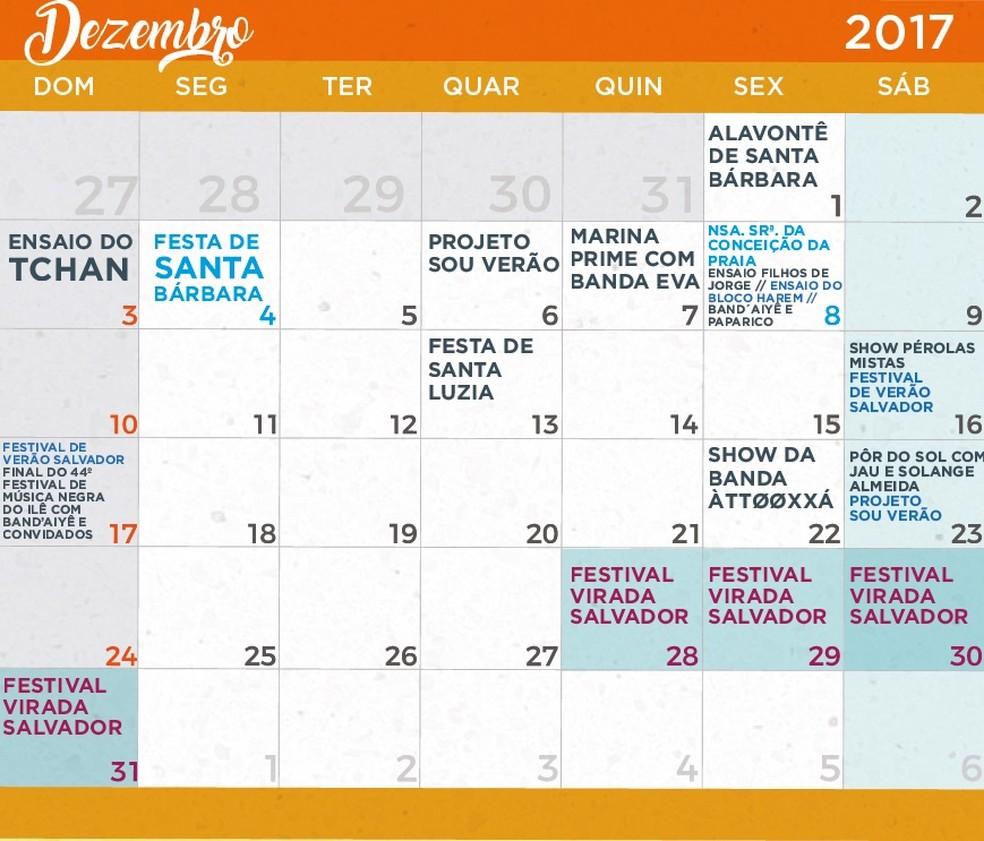 Calendário de festas do verão de Salvador em Dezembro de 2017 (Foto: Divulgação/Prefeitura)