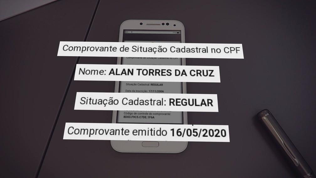 Buscas em outros sites indicam que CPF está regular — Foto: Reprodução/TV Globo