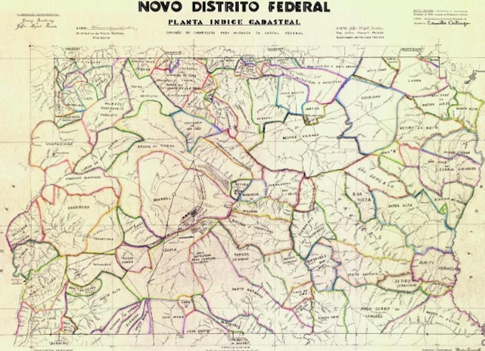 Mapa mostra demarcação do Distrito Federal — Foto: Arquivo Público/Coleção Goyaz/Acervo Altamiro de Moura Pacheco