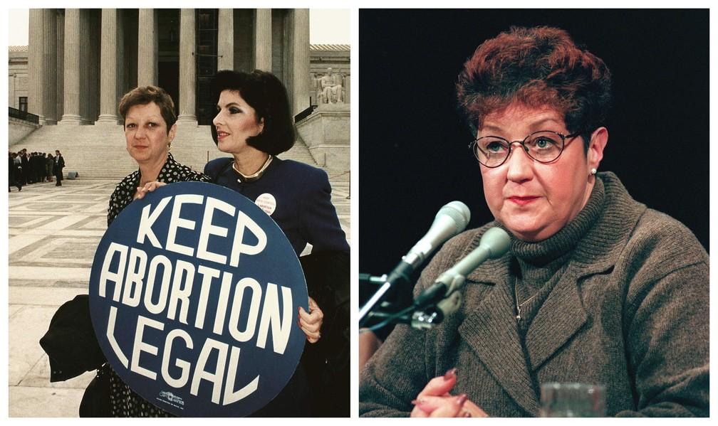 """Nas fotos, de 1989 (dir.) e 1998, aparece Norma McCorvey, a """"Roe"""" no caso """"Roe v. Wade"""", que garantiu o direito ao aborto nos EUA. McCorvey mudou sua posição antes de morrer, afirmando que gostaria de ver a decisão anulada porque """"o experimento com o aborto legal falhou"""", diz a agência France Presse. — Foto: Greg Gibson e Chris Kleponis / AFP"""
