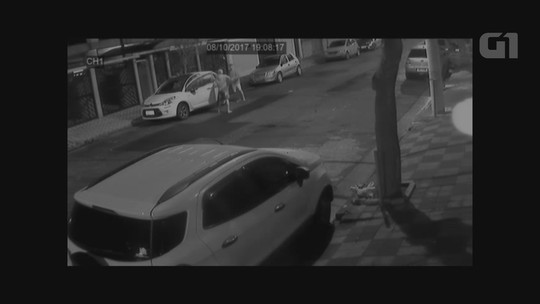 Imagens mostram desespero de avô para evitar que ladrão leve carro com neta de 3 anos dentro em SP