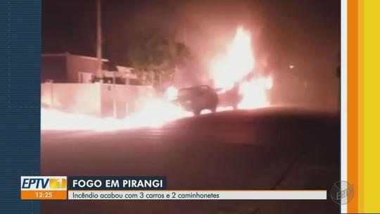 Homem é preso por suspeita de atear fogo a cinco carros no Centro de Pirangi, SP