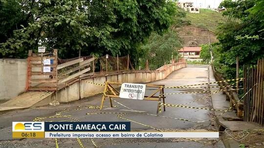 Prefeitura de Colatina improvisa acesso em bairro após interdição de ponte
