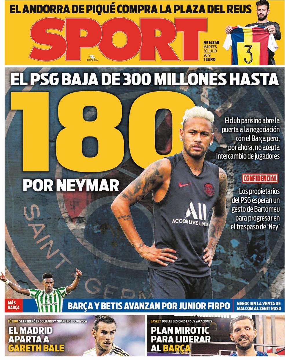 Capa do Sport diz que PSG pretende negociar Neymar por até 180 milhões de euros — Foto: Reprodução/Sport