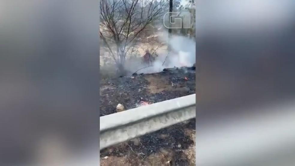 Populares controlam fogo em vegetação às margens da BR-343 — Foto: Reprodução /Redes Sociais