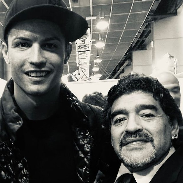 Cristiano Ronaldo e Maradona (Foto: Reprodução/Instagram)
