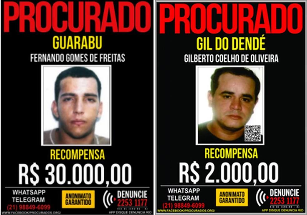 Cartazes do Disque Denúncia com as recompensas de Fernandinho Guarabu e Gil do Dendê — Foto: Reprodução