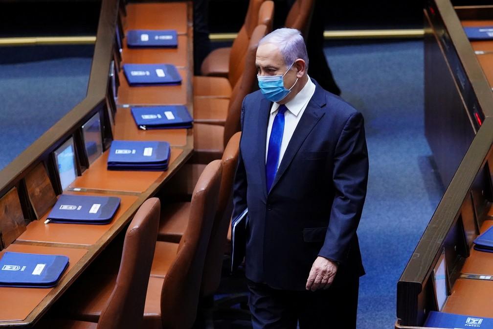 Benjamin Netanyahu no parlamento israelense em foto de 17 de maio de 2020 — Foto: Adina Valman/Knesset/Reuters/Arquivo