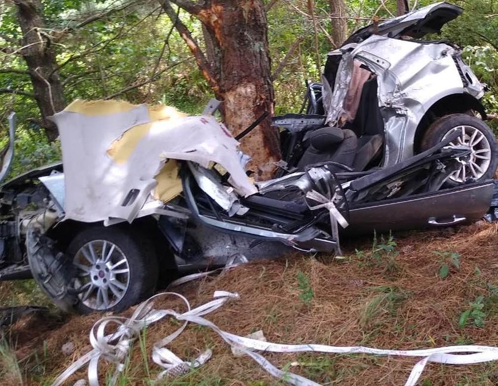 Carro ficou destruído após colidir em árvore na BR-470 em SC — Foto: Corpo de Bombeiros Militar/Divulgação