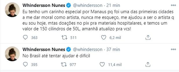 Campanha para compra de cilindros de oxigênio para hospitais de Manaus (Foto: Reprodução/Twitter)