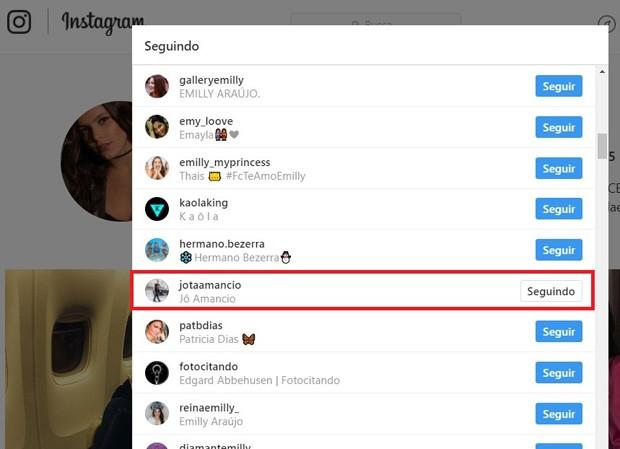 Emilly continua seguindo Jota Amâncio (Foto: Reprodução/Instagram)