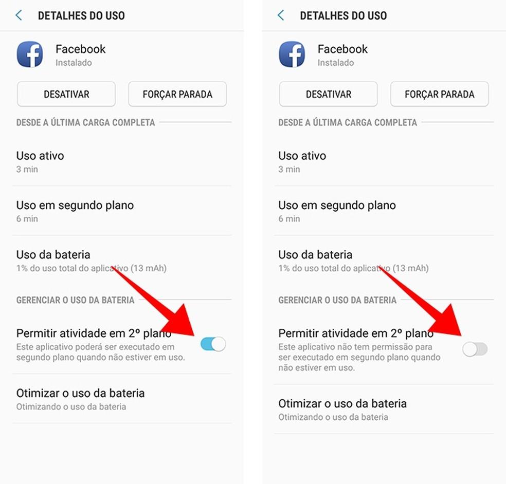 Remova do aplicativo a permissão para rodar em segundo plano — Foto: Reprodução/Paulo Alves