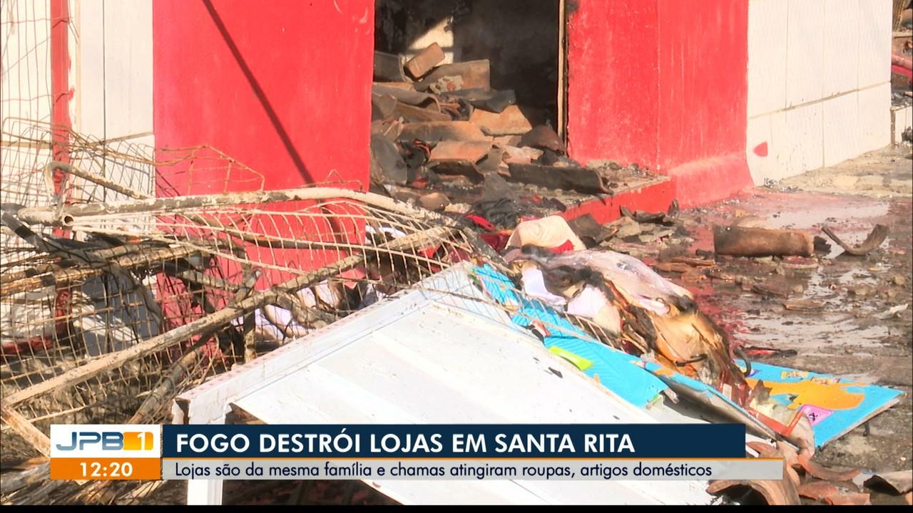 Incêndio destrói lojas em Santa Rita