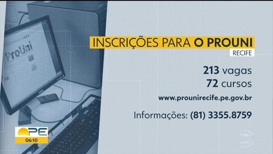 Prouni Recife abre inscrições para 213 bolsas em faculdades privadas