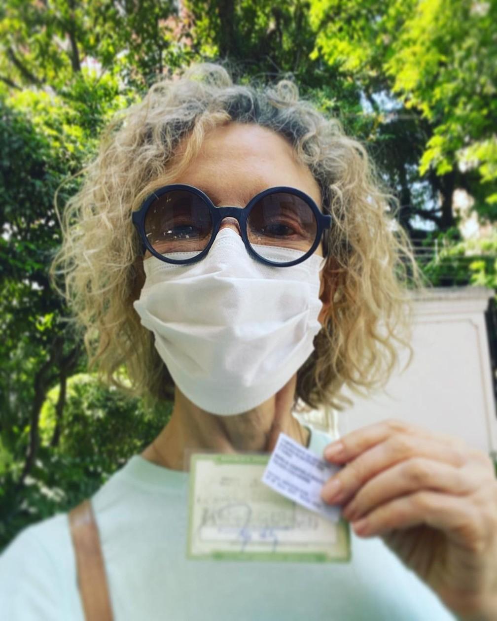 Marília Gabriela votou na manhã deste domingo (15), em São Paulo — Foto: Reprodução/Instagram/Marília Gabriela