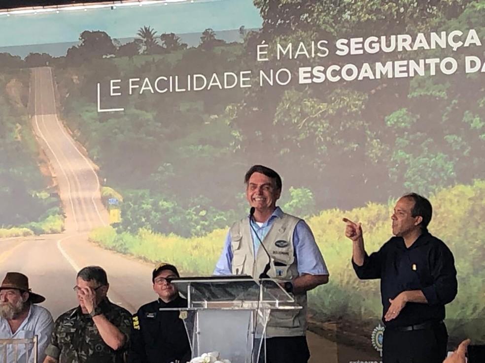 Bolsonaro visitou o Pará para inauguração de obra — Foto: Eunice Ramos/TVCA
