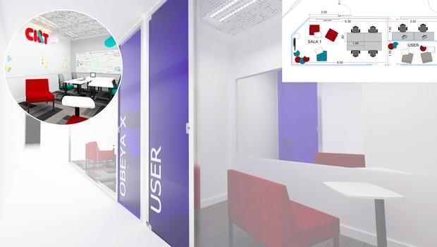 Projeção de como será o centro de design estratégico levado pela CI&T ao Cubo, do Itaú (Foto: Divulgação)