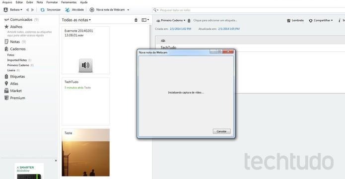 Nota por webcam no Evernote (Foto: Reprodução/Barbara Mannara)