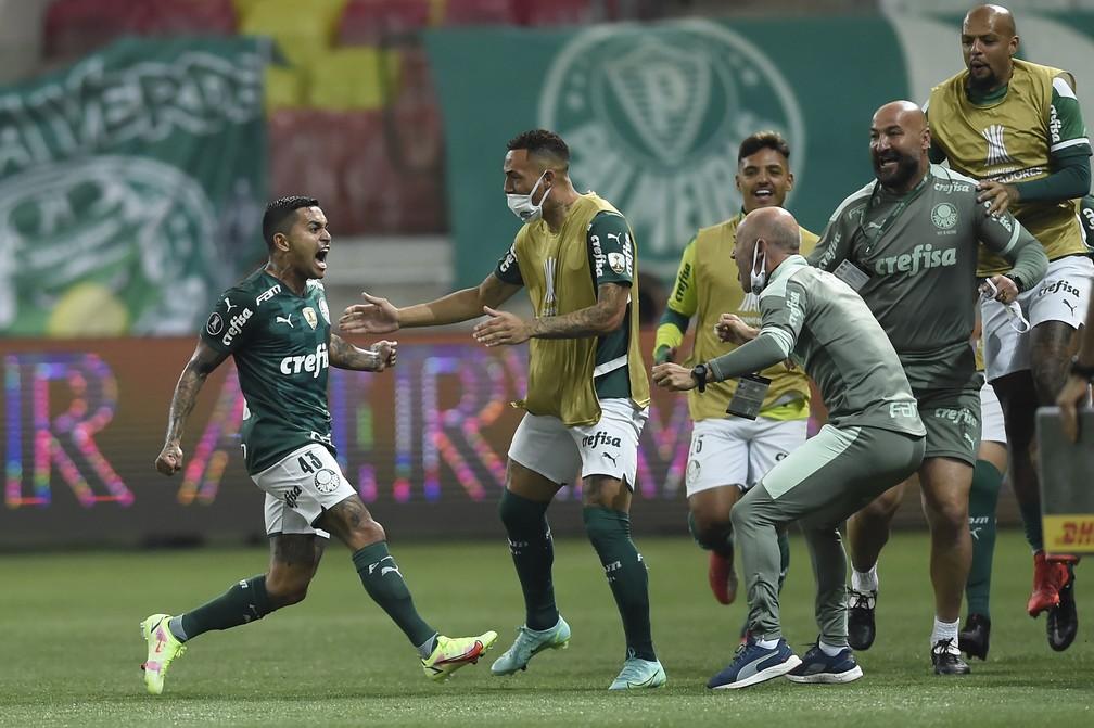 Palmeiras x São Paulo, comemoração do gol de Dudu — Foto: Staff Images / CONMEBOL