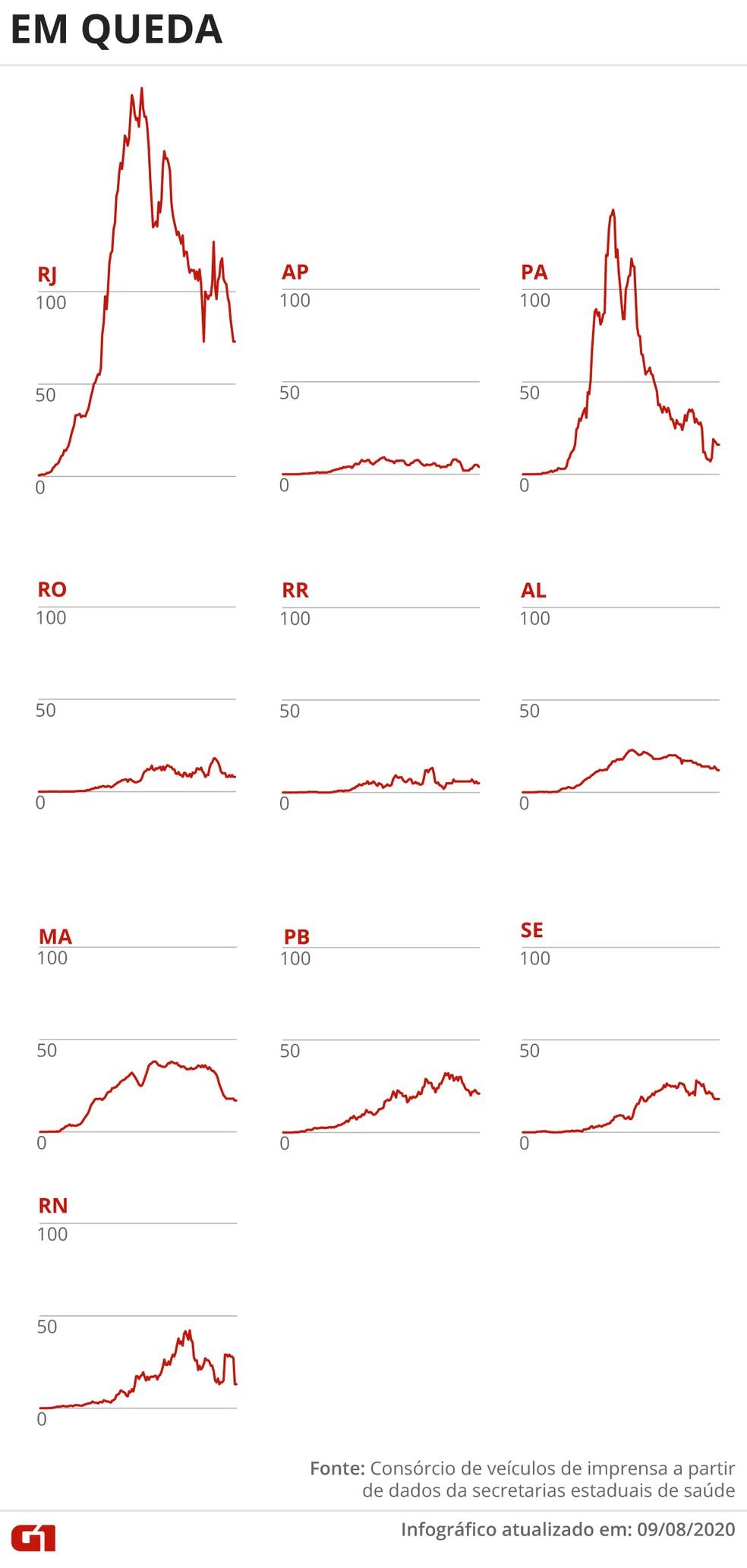 Estados com queda de mortes — Foto: Arte/G1