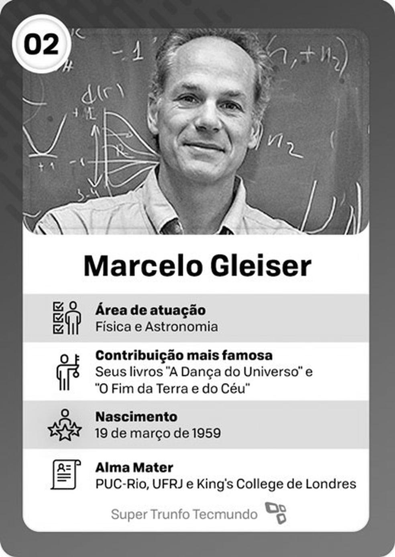 Enem 2019 incluiu cartela feita pelo 'Super Trunfo Tecmundo' com o físico brasileiro Marcelo Gleiser em uma questão de gêneros textuais — Foto: Reprodução/TecMundo
