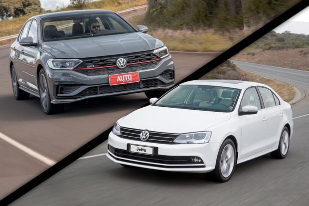 Novo VW Jetta GLI ou o antigo Highline: quem leva a melhor na pista? (Foto: Autoesporte e Divulgação)