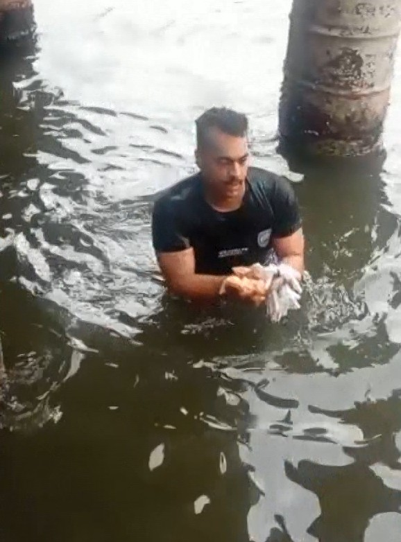 Vídeo: policiais mergulham na maré para pegar drogas jogadas por homem no ES