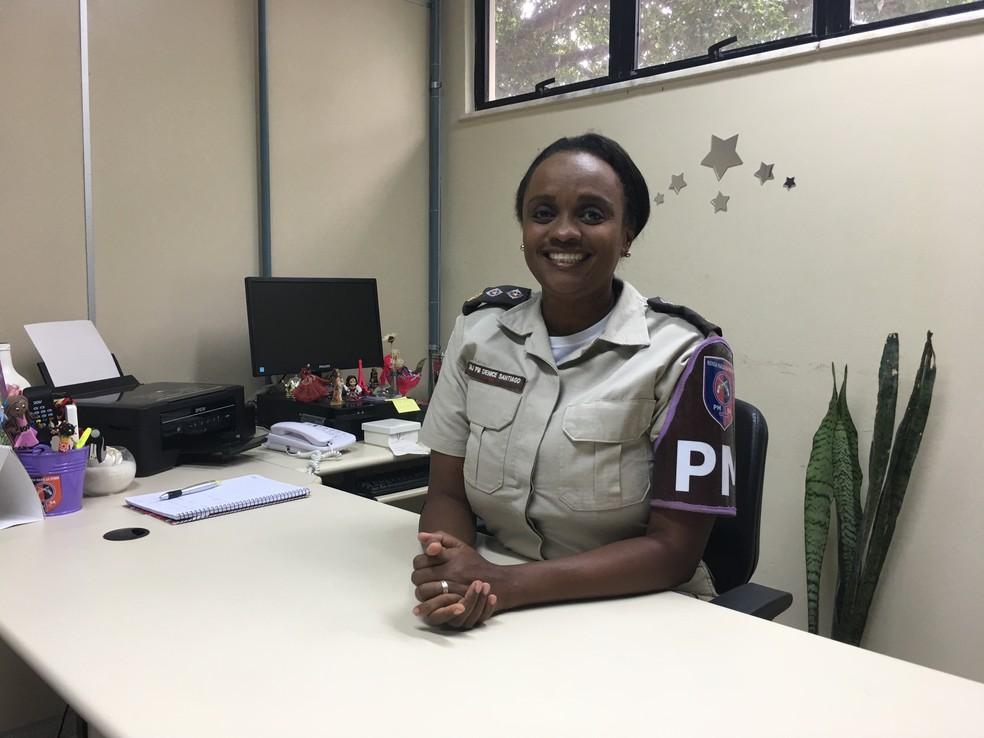 Major Denice fala em sororidade para ajudar no combate à violência (Foto: Danutta Rodrigues/G1)