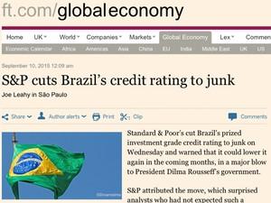 Financial Times ressalta que os títulos brasileiros viraram 'lixo' (Foto: Reprodução/Financial Times)