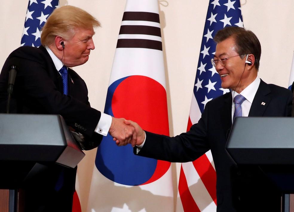 Presidente dos Estados Unidos, Donald Trump, participou de entrevista coletiva com o presidente da Coreia do Sul, Moon Jae-in, em imagem de arquivo  (Foto: Jonathan Ernst/ Reuters)