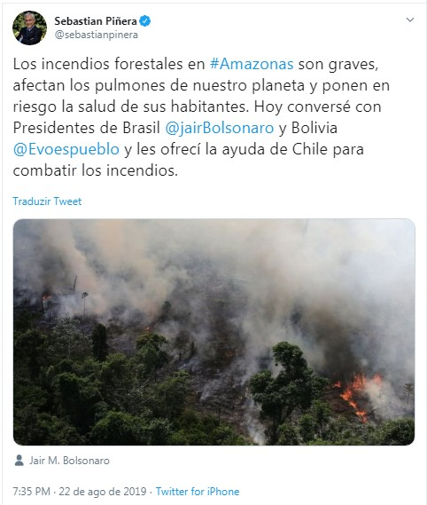 Sebastián Piñera (Foto: Reprodução/Twitter)