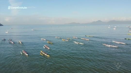 Volta à Ilha de Santo Amaro de Canoa Havaiana é realizada em Santos