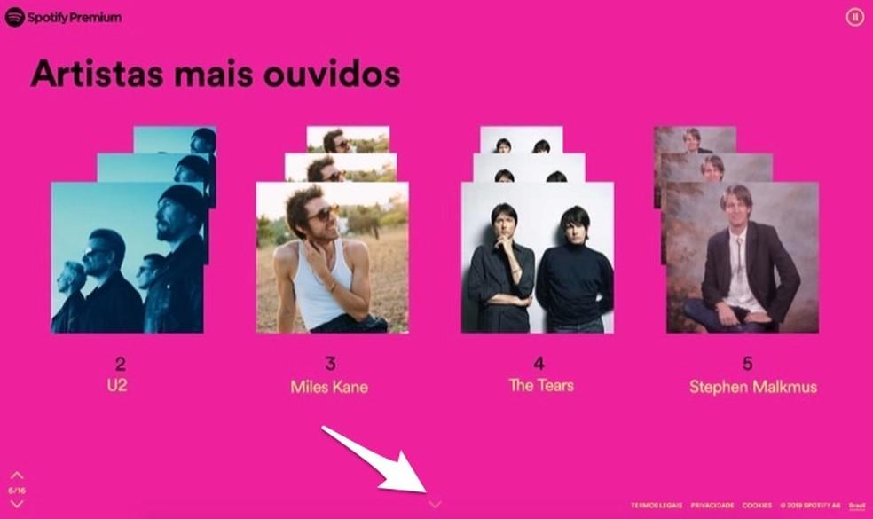 Indicação de artistas mais ouvidos em 2019 no Spotify — Foto: Reprodução/Marvin Costa