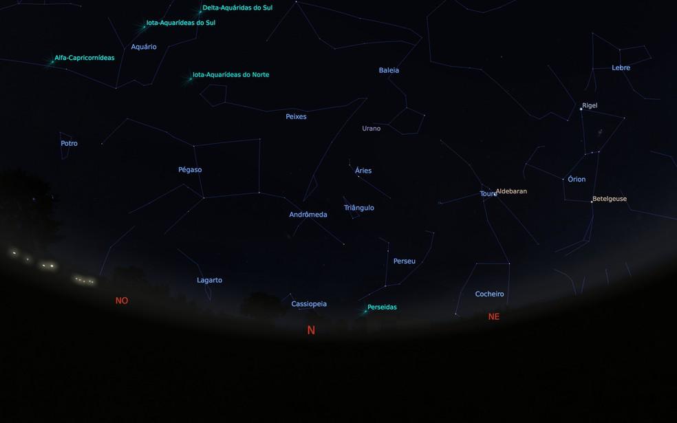 -  Mapa celeste mostra a constelação Perseu  Foto: Stellarium/Cassio Barbosa
