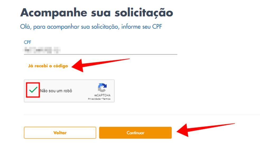 Solicite um novo código ou reutilize um recebido nas últimas 24 horas — Foto: Reprodução/Paulo Alves