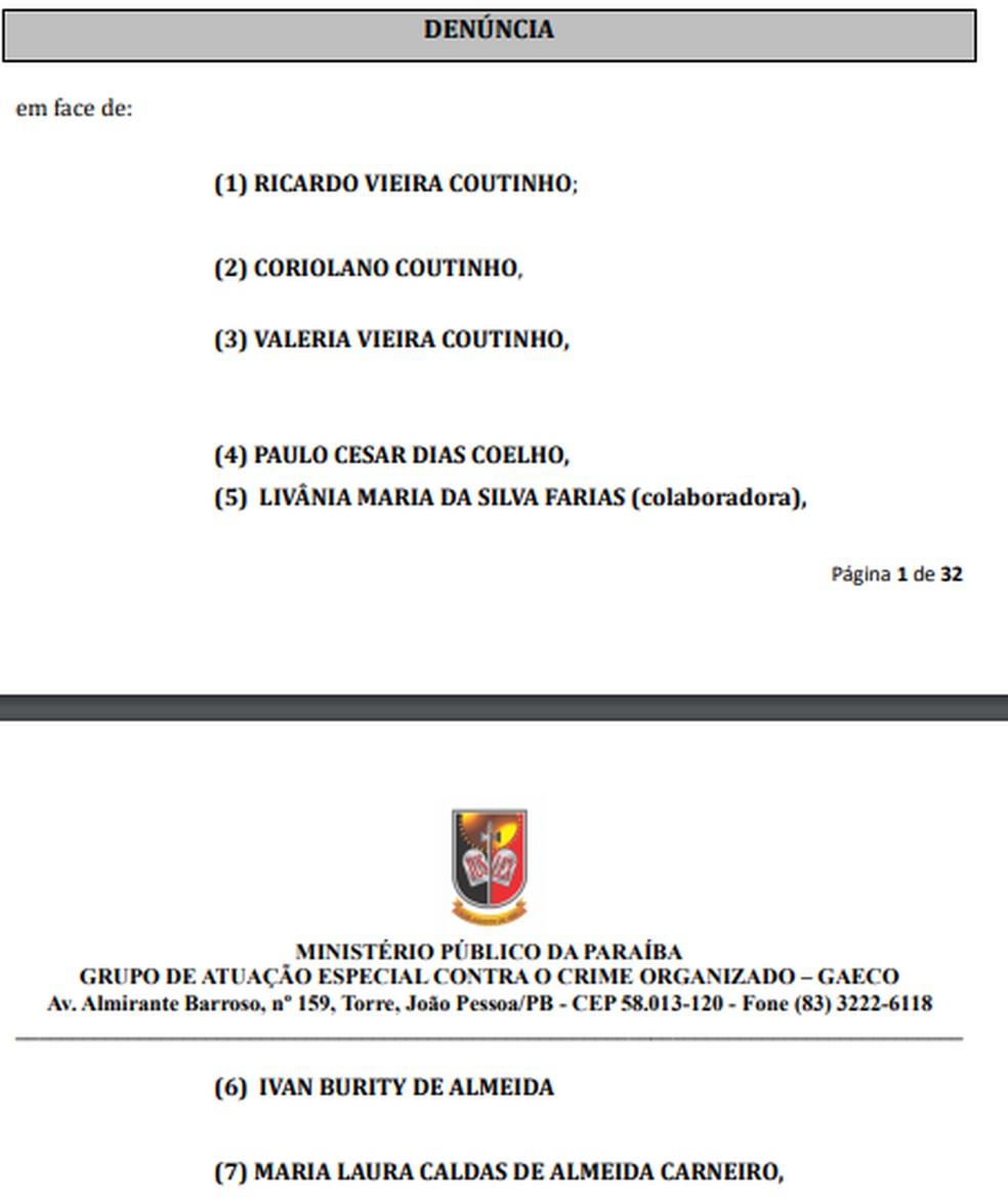 MPPB denuncia Ricardo Coutinho e mais seis por lavagem de dinheiro — Foto: MPPB/Reprodução