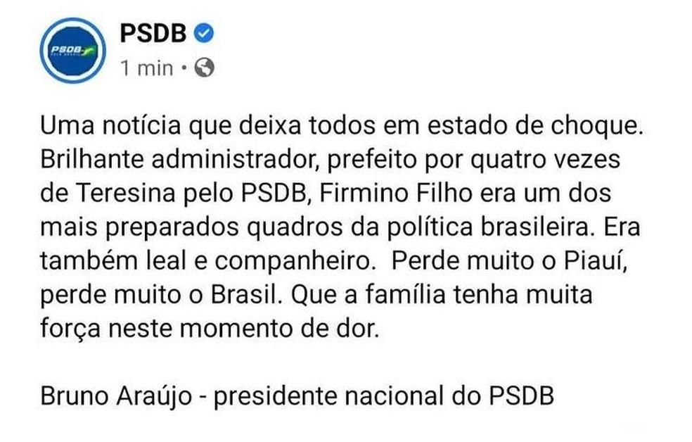Presidente do PSDB lamenta morte de Firmino Filho — Foto: Reprodução/Rede social